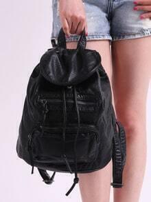 Black Magnetic Zipper PU Backpacks