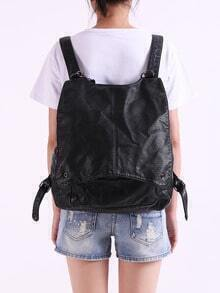 Black Zipper PU Backpacks