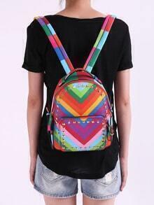 Multicolor With Rivet Zipper Backpacks