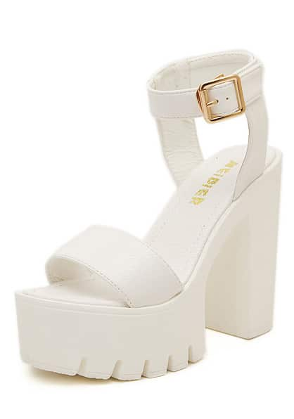 White Chunky High Heel Buckle Sandals -SheIn(Sheinside)