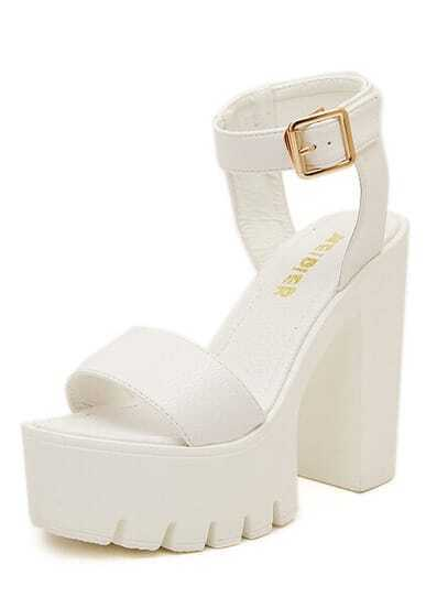 White Chunky High Heel Buckle Sandals