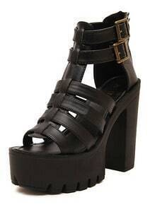 Black Chunky High Heel Buckle PU Sandals