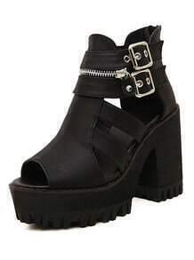 Black Buckle Zipper High Heel Sandals