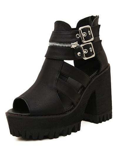 Black Buckle Zipper High Heel Sandals