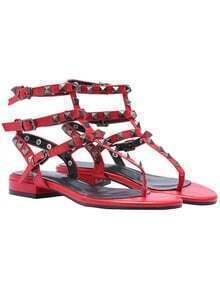 Red Rivet Buckle PU Sandals