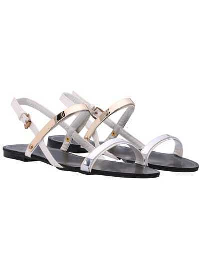 White Buckle Casual PU Sandals