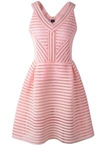 Pink Zippered V Neck Sleeveless Hollow Striped Dress