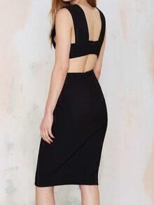 Black Deep V Neck Sleeveless Slim Bodycon Dress