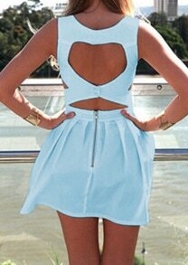 Blue Sleeveless Backless Pleated Dress
