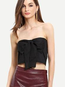 Black Strapless Bow Crop Tank Top