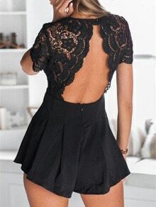 Black V Neck Lace Backless Jumpsuit