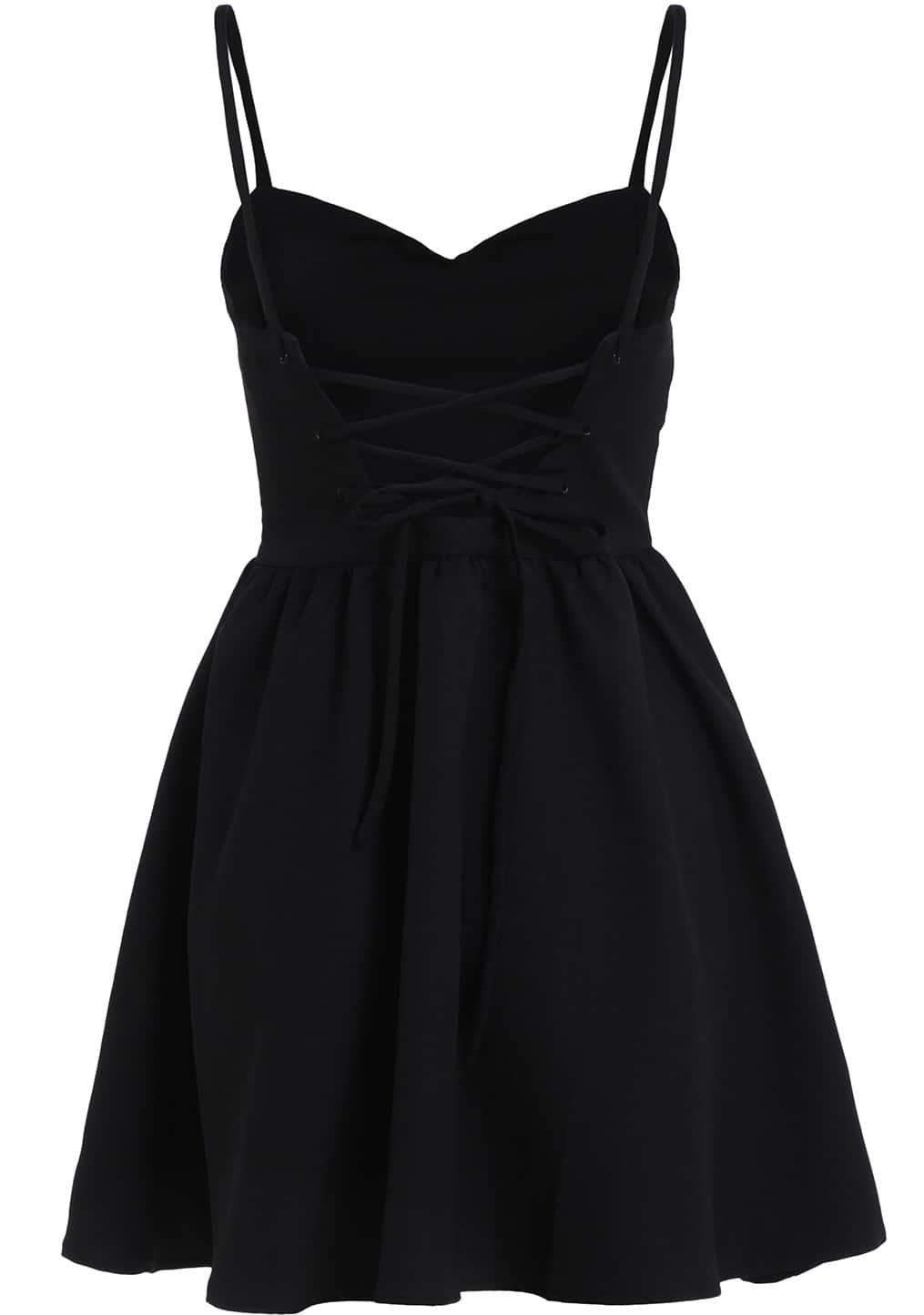 Black Spaghetti Strap Backless Flare Dress Shein Sheinside
