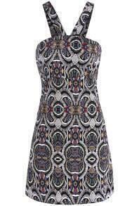 Black Halter Geometric Print Slim Dress