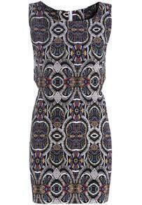 Black Sleeveless Hollow Geometric Print Dress