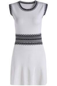White Sleeveless Geometric Print Knit Dress