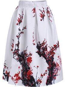 White Plum Blossom Print Flare Skirt