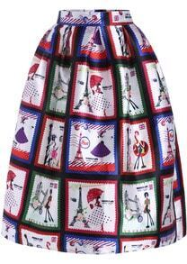 Multicolor Stamp Print Flare Skirt