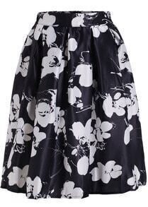 Black Floral Flare Long Skirt