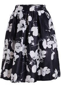 Black Floral Flare Long Skirt