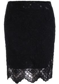 Black High Waist Lace Bodycon Skirt
