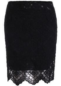 Black High Waist Lace Bodycon Skirt