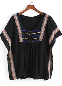 Black Batwing Sleeve Tribal Embroidered Blouse