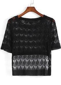 Black Short Sleeve Hollow Crop Top