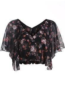 Black V Neck Floral Chiffon Crop Top