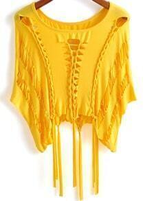 Yellow Round Neck Hollow Tassel Top