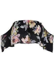 Black Off the Shoulder Floral Chiffon Top