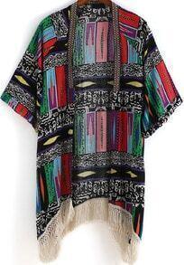 Multicolor Geometric Print Tassel Kimono
