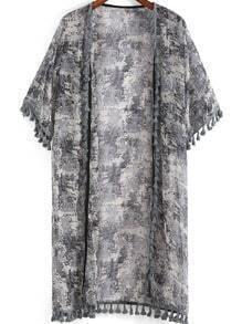 Grey Short Sleeve Floral Tassel Kimono