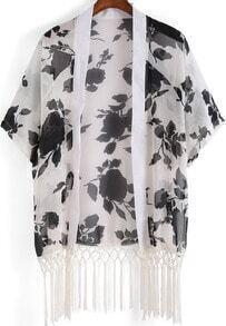 White Rose Print Tassel Chiffon Kimono