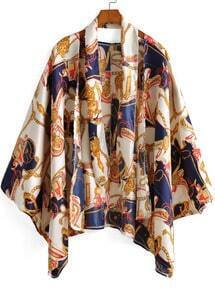 Blue Yellow Carriage Chain Kimono