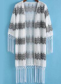 White Embroidered Tassel Loose Kimono