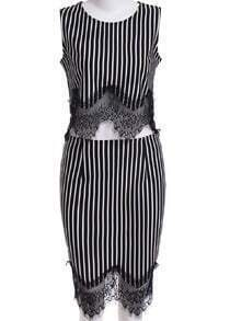 Black Vertical Stripe Lace Top With Skirt