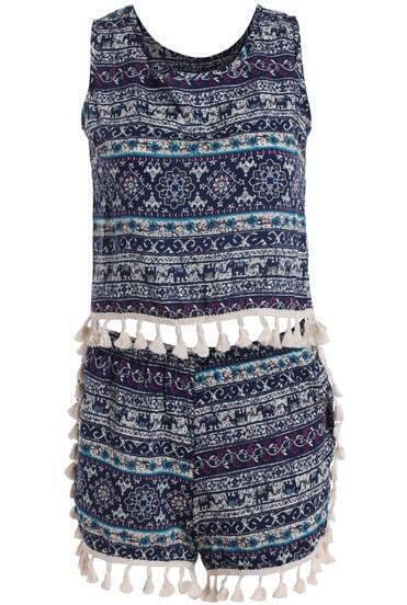Blue Sleeveless Tribal Print Tassel Top With Shorts