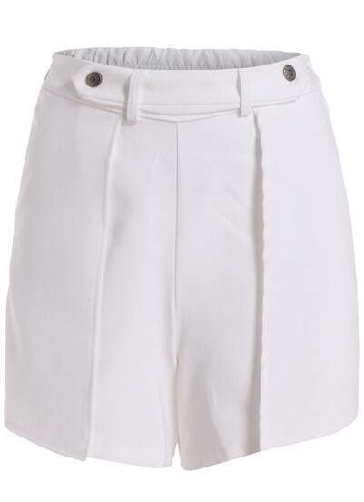 White Elastic Waist Buttons Shorts