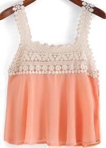 Orange Lace Strap Chiffon Tank Top