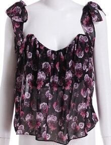 Black Knotted Strap Floral Chiffon Cami Top