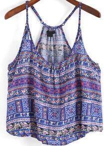 Blue Spaghetti Strap Tribal Print Cami Top