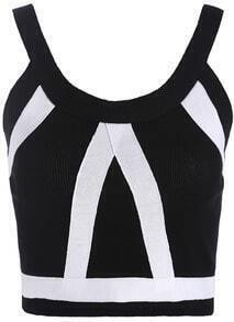 Black Strap Zipper Crop Cami Top