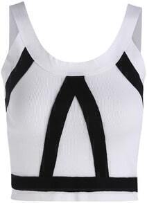 White Strap Zipper Crop Cami Top