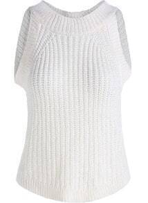 White Round Neck Slim Knit Tank Top