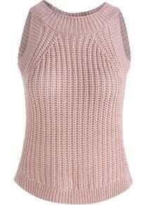 Nude Round Neck Slim Knit Tank Top