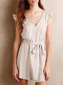 White Cap Sleeve V Neck Vintage Print Dress