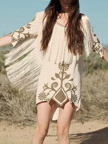 White Half Sleeve Backless Vintage Print Tassel Dress