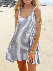 Grey Spaghetti Strap Striped Dress