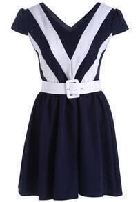 Black White V Neck Short Sleeve Flare Dress