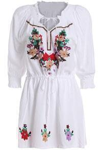 White Tie-neck Embroidered Loose Dress